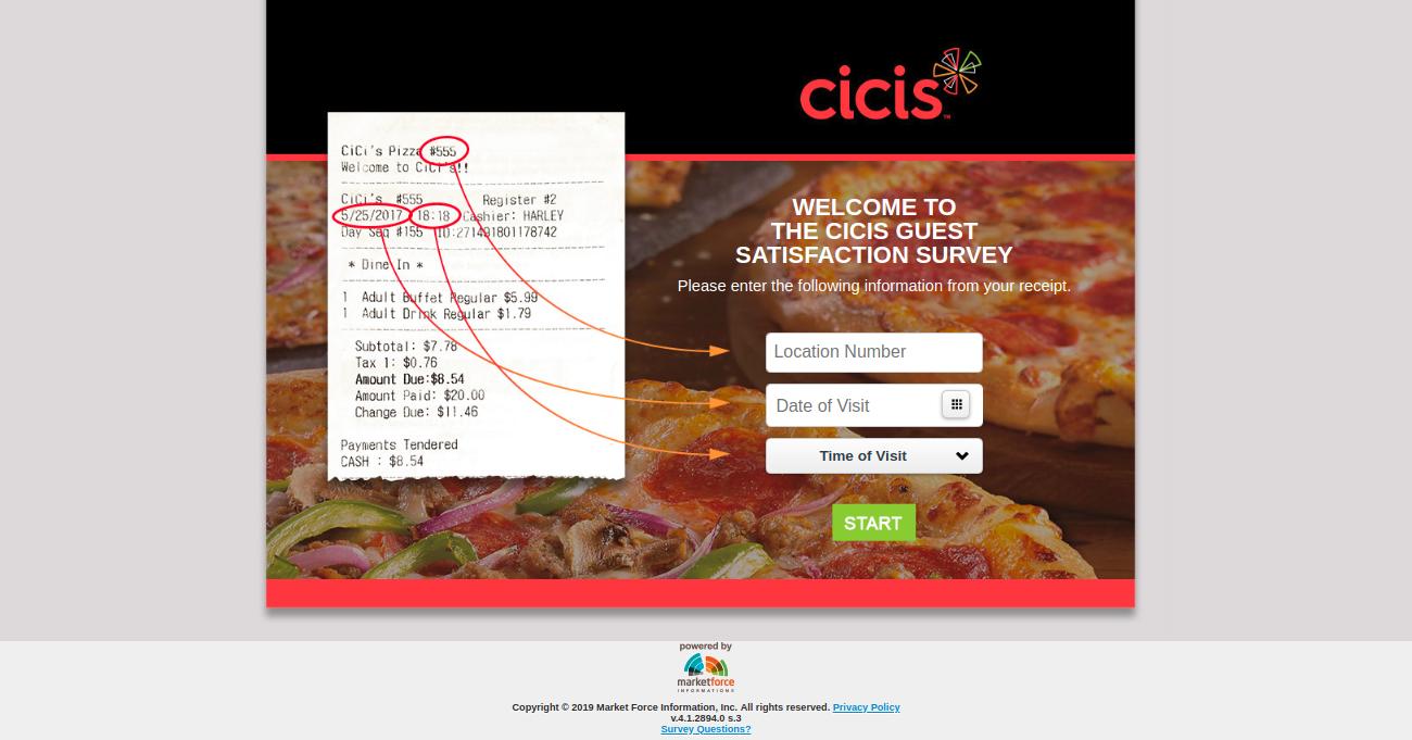 Cicis Guest Satisfaction Survey Second