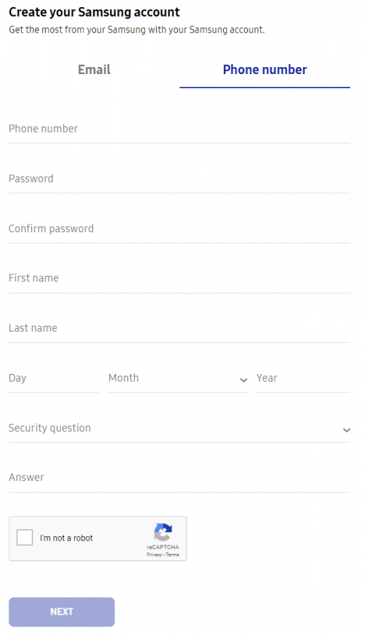 Create Samsung account for find lost mobile