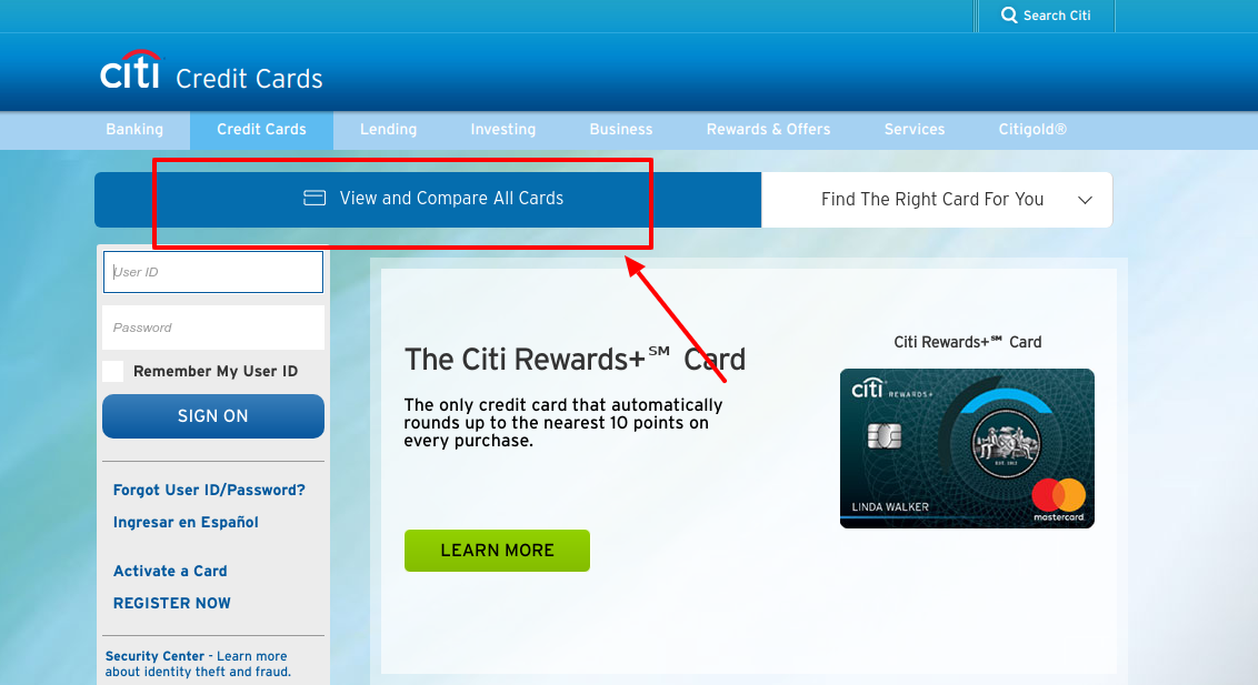 Citi Credit Cards view all card