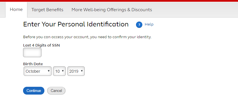 Target Pay and Benefits Portal account create