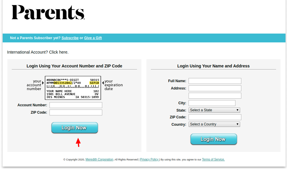 Parents Customer Login To Account Number