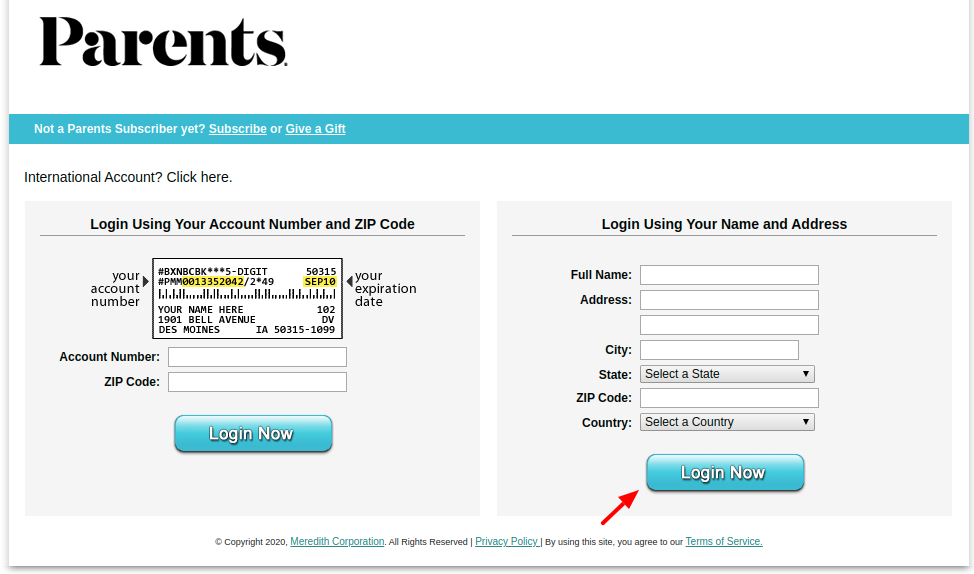 Parents Customer Login To Name And Address