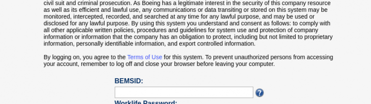 Boeing Secure Logon