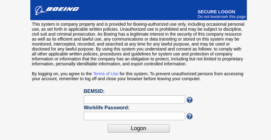 Boeing Secure Logon