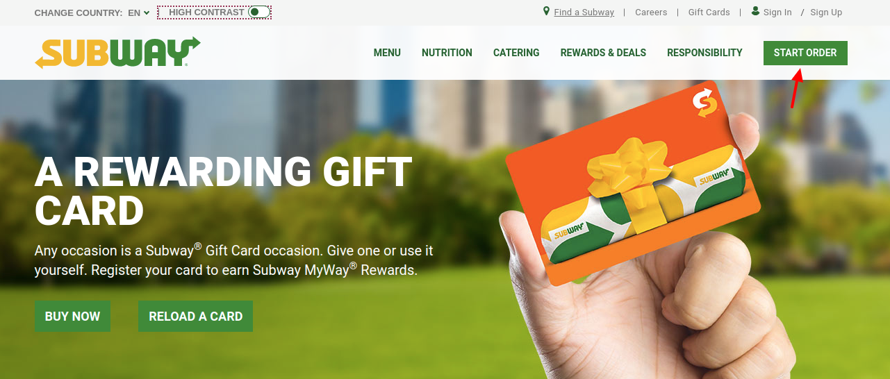 Subway Gift Card Start Order