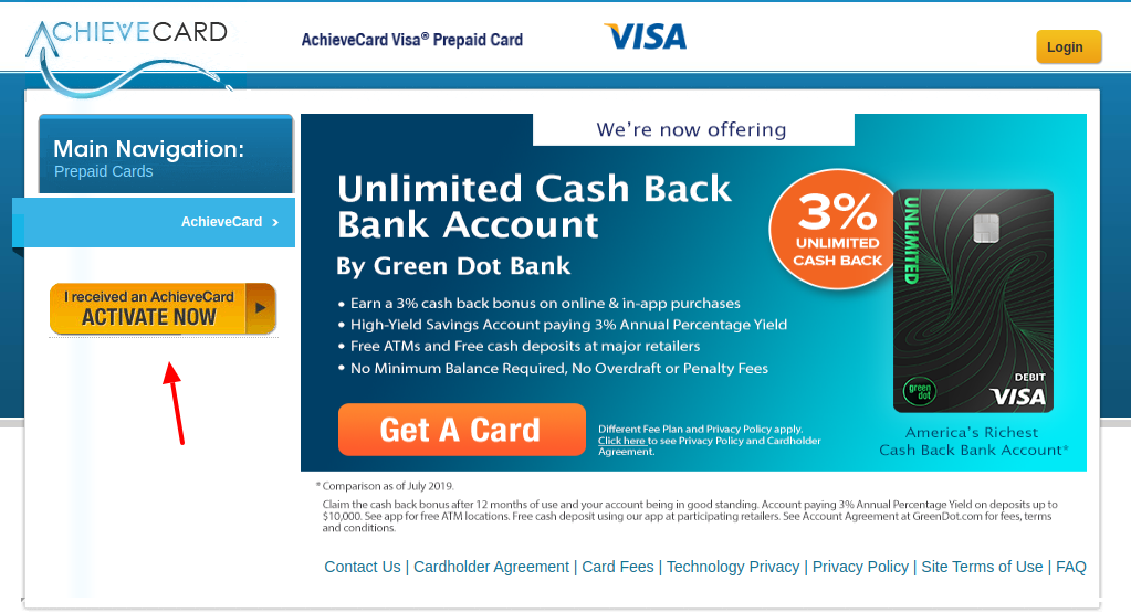 AchieveCard Prepaid Card Activate