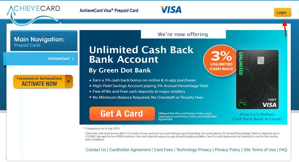 AchieveCard Prepaid Card Login