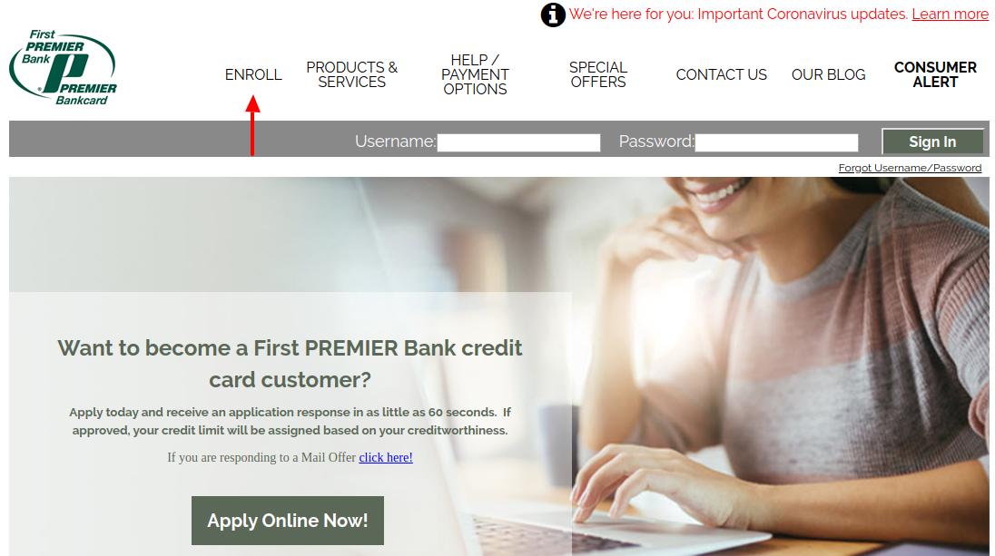 Premier Bank Card Enroll