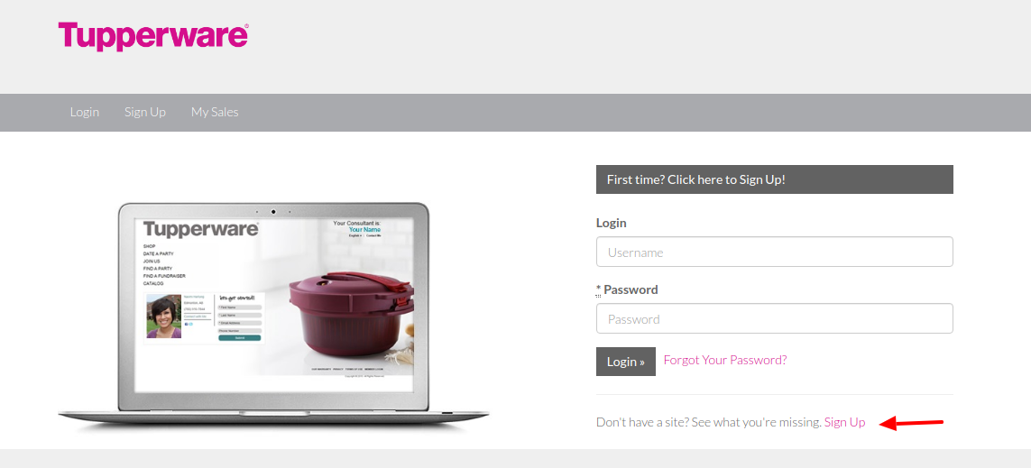 Tupperware Sign Up
