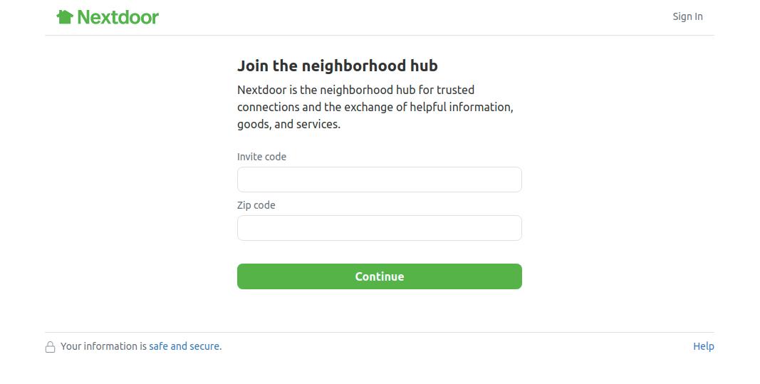 Join Next Door using Invite Code