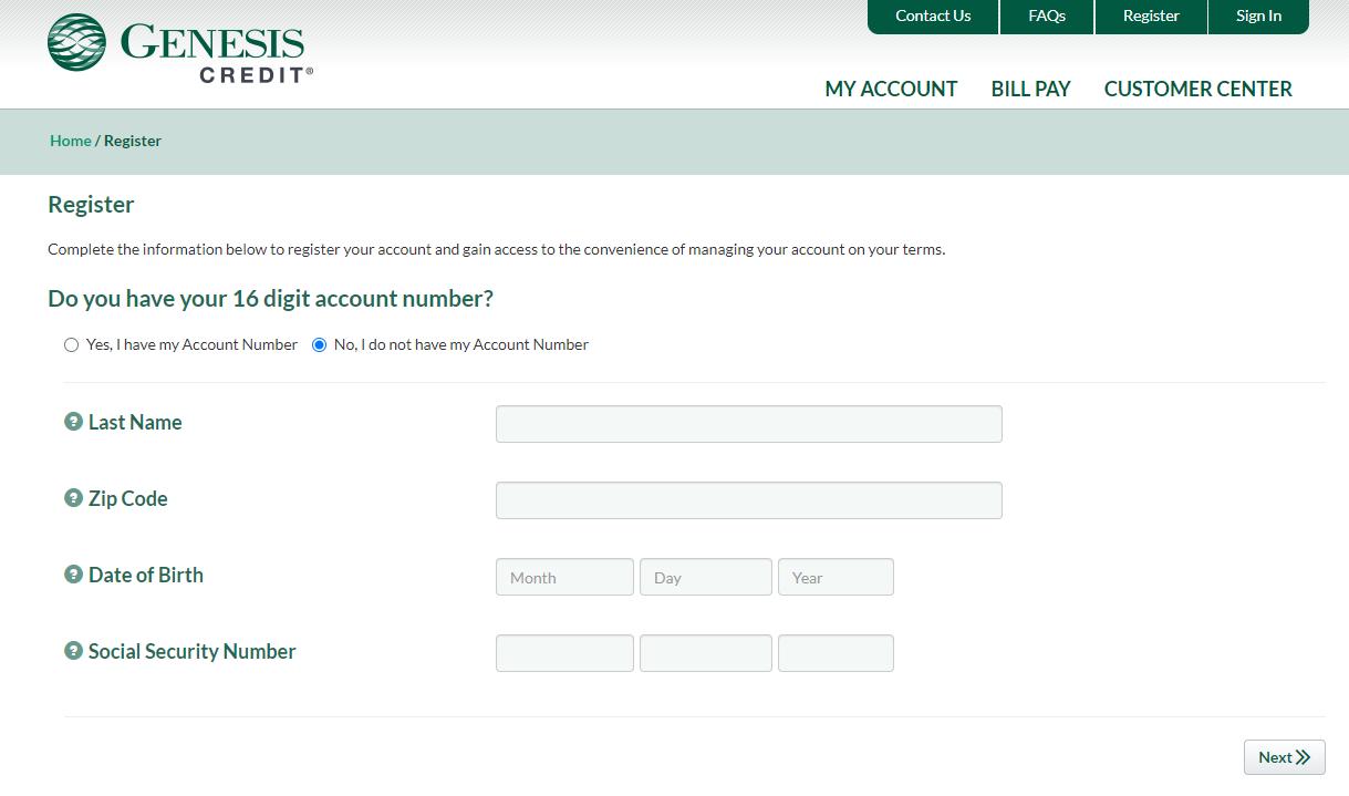 Register Genesis Credit