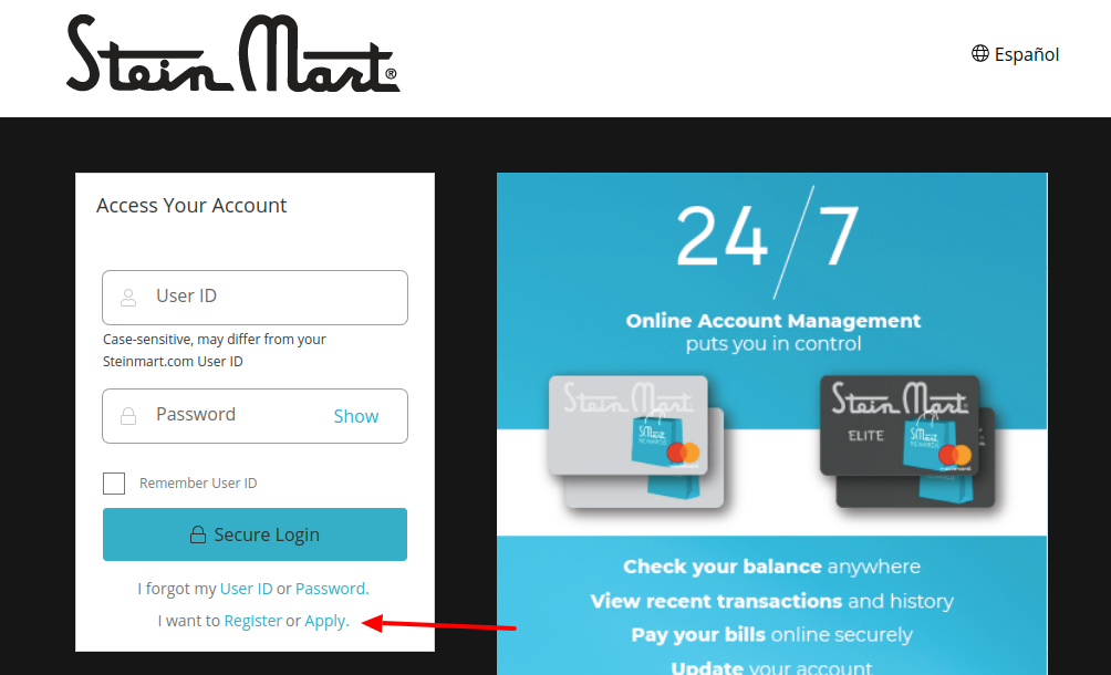 Stein Mart Credit Card Register