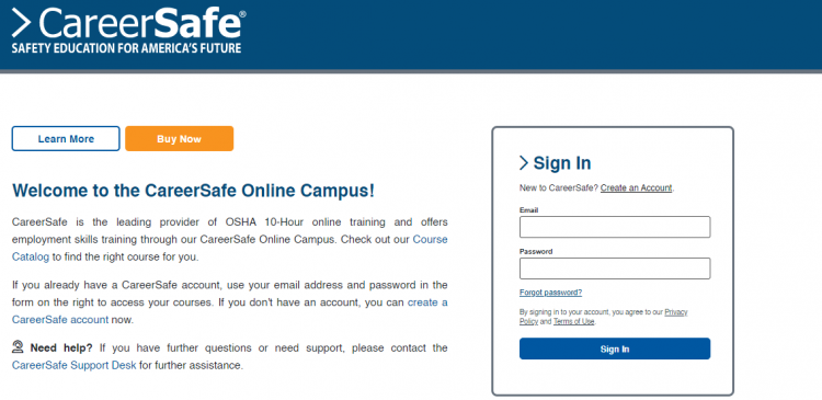 Career Safe Campus Login