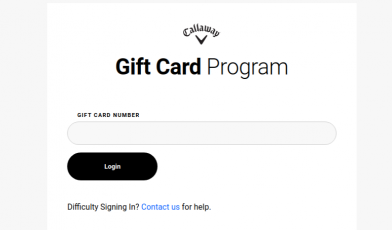 Callaway Golf Gift Card Login