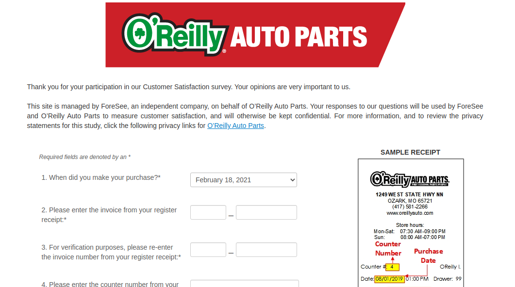 O-Reilly Auto Parts Survey
