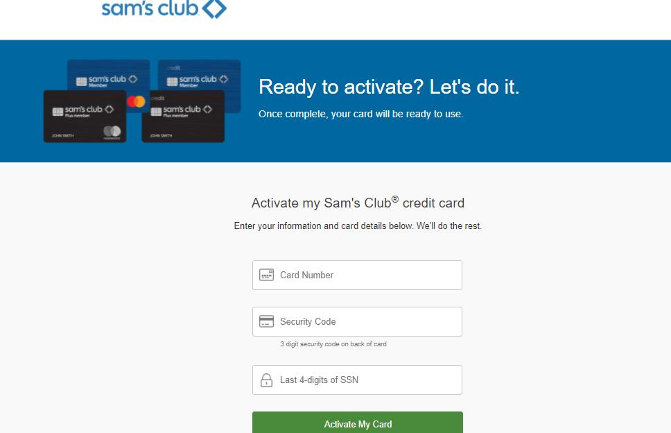 sam's club credit card activation