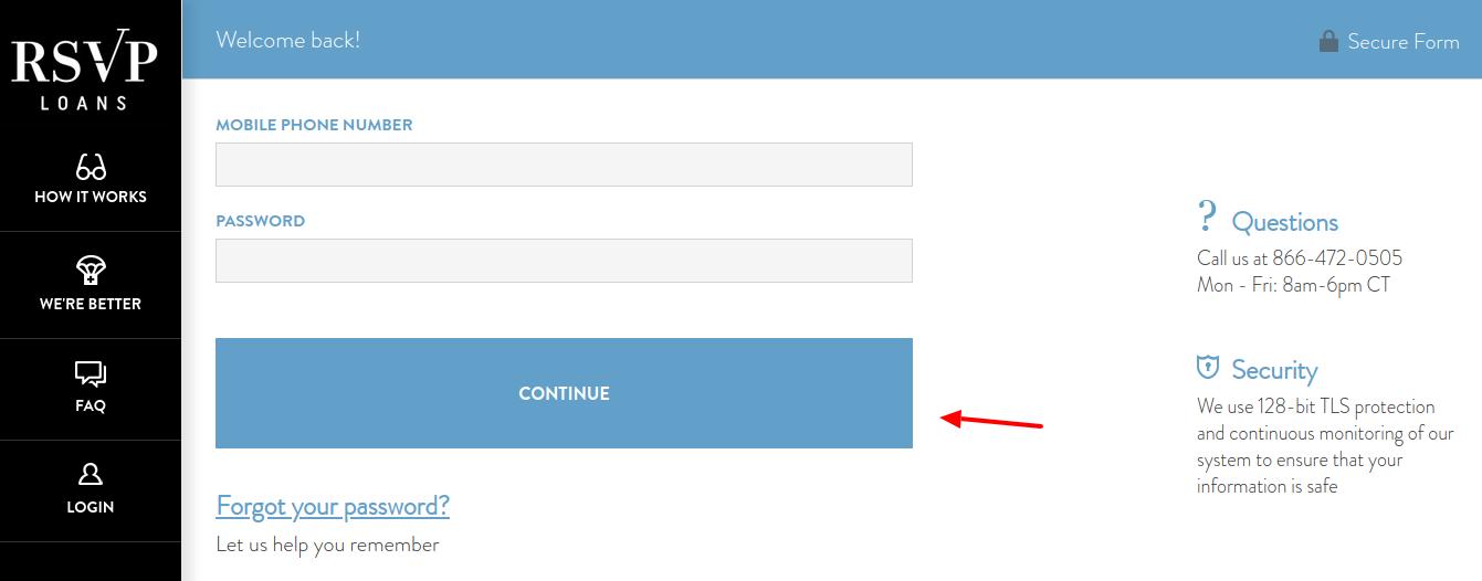 rsvp loans login